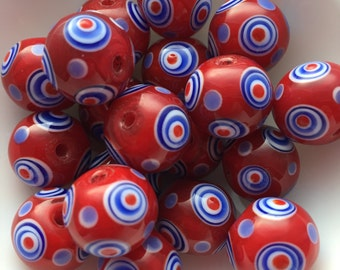 10 Glass Evil Eye Beads in Red & Blue 13mm package of 10