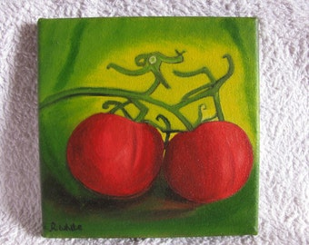 An oil painting of tomatoes. Cotton canvas. 20 cms x 20 cms.