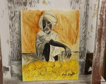 Original, Signed Portrait of Turbaned Man