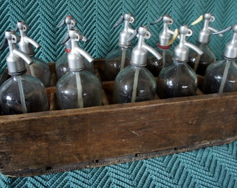 Vintage Seltzer Bottles in Original Crate