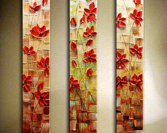 "Original Abstract Poppy Painting Heavy Textured Modern Poppy Painting.Palette Knife.Triptych.Large Artwork  36"" - by Nata - MADE to ORDER"