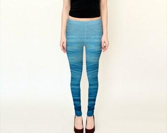 Blue leggings, ocean abstract capri leggings, wearable art printed leggings, nautical leggings, navy blue yoga leggins women accessories