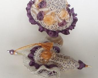set cappello ombrellino scala 1/12 in stoffa, passamaneria, roselline in seta