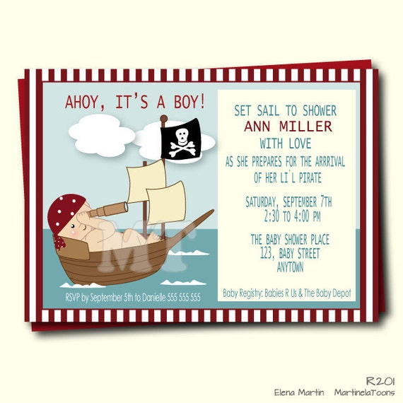 Pirate Baby Shower Invitations and get inspiration to create nice invitation ideas