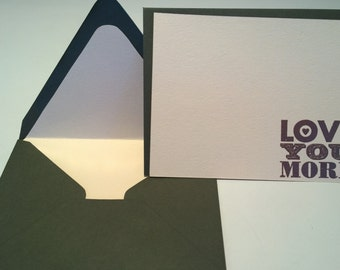 """Love Stationery Set// """"Love You More""""// Little Love Letters// Wedding// Set of 6"""