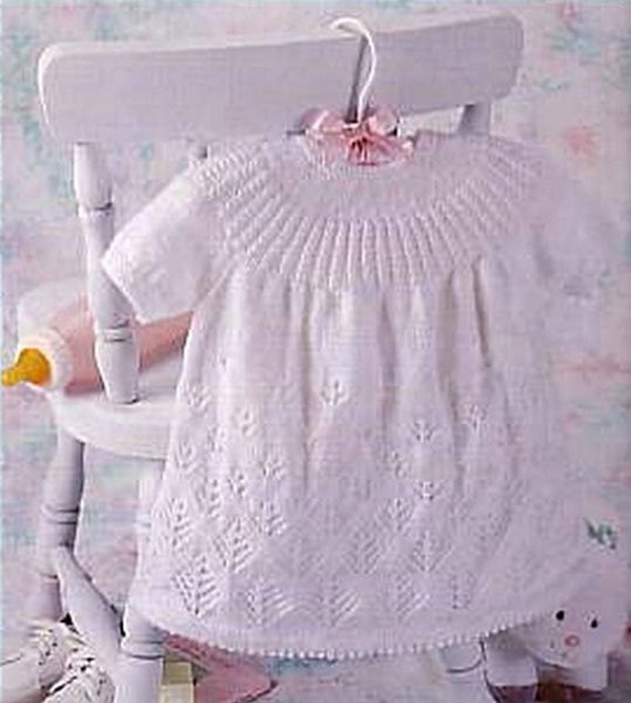 Knitting Patterns Lace Dress : Items similar to Knit Baby Lace Dress Vintage Knitting Pattern Angel Jumper P...