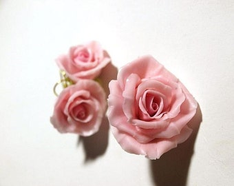 Flower Jewelry Set - Pale Pink Roses / Earrings or Ring