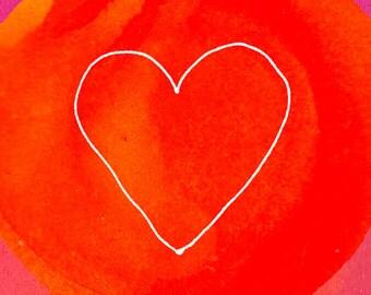 "Art Print, Heart, Love, Red, 5x7"""