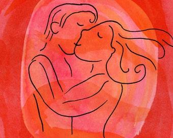 """Valentine Red Kiss Art Print, 5x7"""""""