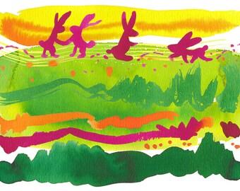 "Art Print, Spring, Rabbits, Fun, Bright, Friendship, Watercolor 11x14"""