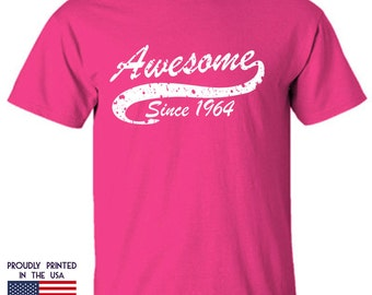 Awesome Since 1964 t shirt is a perfect 53rd birthday gift