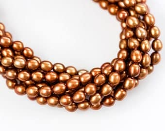 10771_Copper pearls 5-6 mm, Gold brown pearls, Natural pearls, Freshwater pearls, Cultivated pearls,  Rice pearls, For jewelry, Supplies.