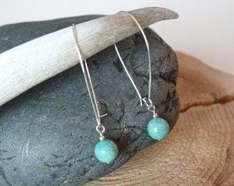Kachemak earrings, dangle earrings, minimalist, turquoise earrings, modern earrings, amazonite jewelry, Stone of Courage, ammonite jewelry