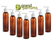 3 Amber Cosmo Bottles w/ Lotion Pump Dispenser 4 Oz, BPA Free PET White Pump Cap  Shampoo, Body Cream, Soap Aromatherapy, Essential Oil