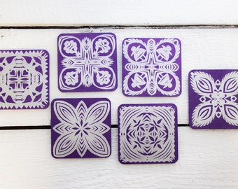 Purple Wooden Handmade Folk Cut-Out Coasters