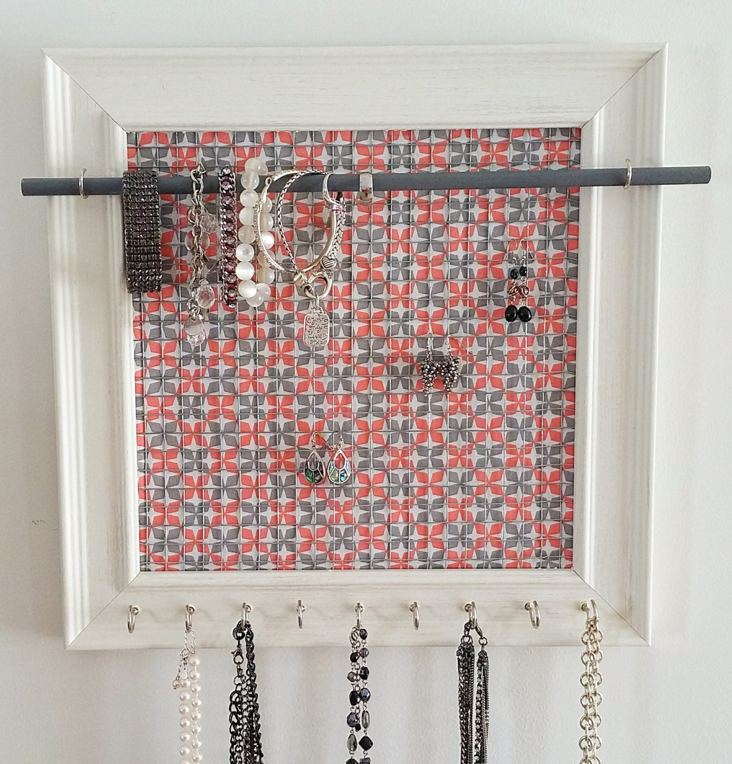Wall jewelry organizer handmade jewelry organizer gift for for Picture frame organization wall