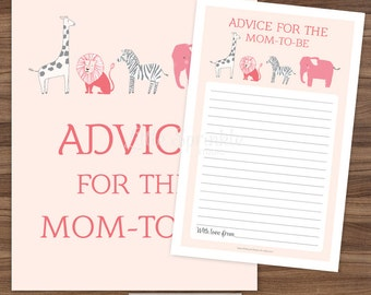 Advice for the Mom-to-Be Pink Safari Jungle Zoo Animals / Pink Baby Girl Baby Shower Game Card Sign / Printable Digital INSTANT DOWNLOAD