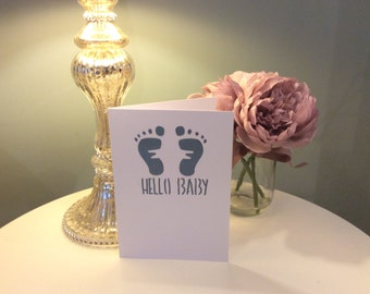 Hello Baby New Baby Card - Footprints - Handmade - Available in Blue or Pink