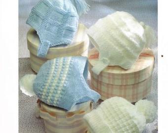 boys bonnets dk knitting pattern 99p