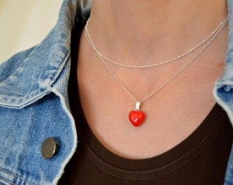 red heart necklace with satellite chain - layered necklace, mothers day gift two layer necklaces - jewelry set satellite and heart
