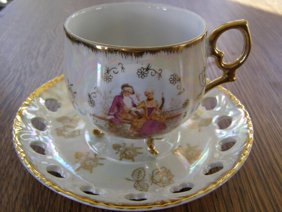 Vintage Japan Tea Cup Amp Saucer Victorian Style With Open Lace