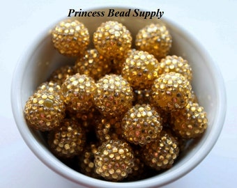 20mm Gold AB Rhinestone Chunky Beads Set of 10,  Bubble Gum Beads, Gumball Beads, Acrylic Beads