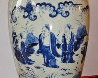 1600s huge heavy Chinese Ming Dy. blue white porcelain vase painted sages in Bamboo  密宗四宝竹林七贤