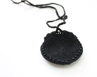 Crochet Drawstring Mini Lip Balm Holder, black crochet purse, mystic festival pendant, black neck purse, totem saver, bag, round, ring keep