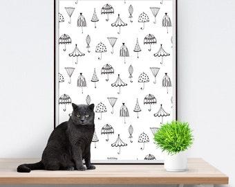 Umbrella Print Framed Poster