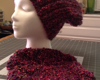 Ribbed Slouchy Hat Vineyard color