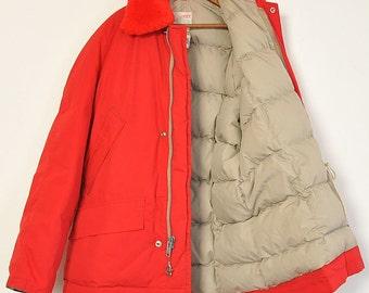 "Vintage 1960s ""Comfy"" Goose Down Red Hunting Winter Jacket"