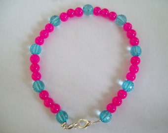 Hot pink bracelet, blue bracelet, beaded bracelet, lobster clasp, silver bracelet, pink bracelet, blue and pink beaded bracelet