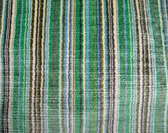 BRUNSCHWIG & FILS ITALIAN Velvet Stripes Fabric 10 Yards Emerald Green Beige Brown Multi