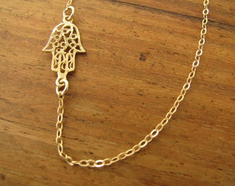 Hamsa gold necklace, gold hand necklace, sideways necklace, hamsa necklace, gold filled hamsa, evil eye necklace
