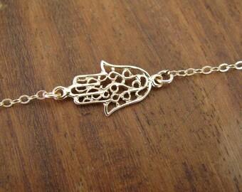 Hamsa bracelet, gold bracelet, gold filled 14k, luck bracelet, dainty bracelet, oriental bracelet, gold filled bracelet