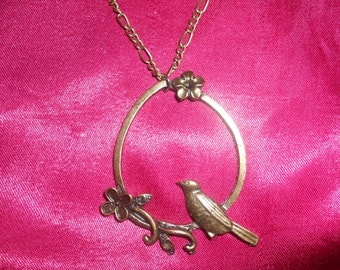 Romantic bird necklace vintage bronze