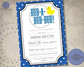 Rub-A-Dub-Dub Baby Shower Invitation- Printable