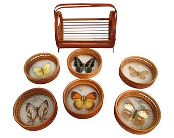 Butterfly Coasters w/ Caddy, 7 Pcs