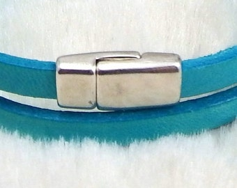 2 very flat clasp for leather 0,2 inches silver plated