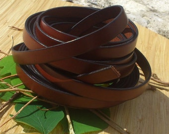 Leather flat Brown 10mm by 20 cm