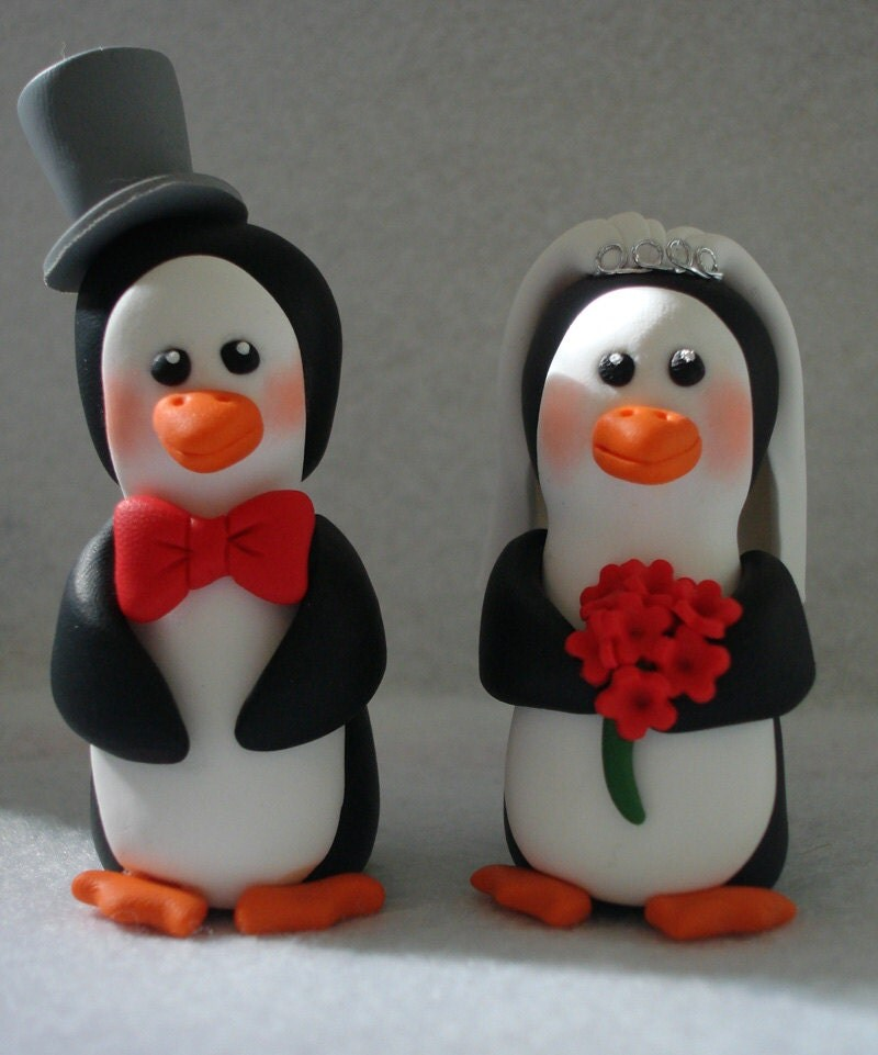 penguin wedding cake topper penguin wedding cake topper and groom by 18187