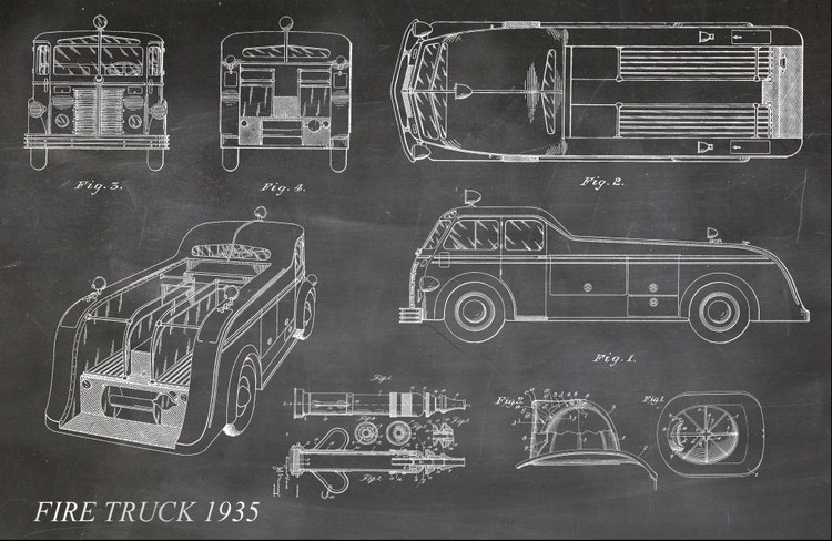 Blueprint Art Of Fire Truck Fire Helmet Fire Hose By