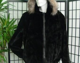 Brand new black sheared beaver & fox fur  bomber jacket coat  w/hood for men man size all custom made