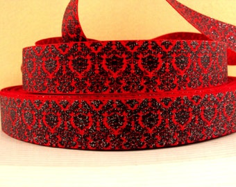 1 inch Black Damask with Silver Glitter on REd  - Printed Grosgrain Ribbon for Hair Bow