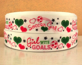 7/8 inch GIRL With GOALS - I Love Soccer Sports - Printed Grosgrain Ribbon for Hair Bow