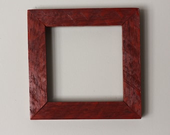 Square Padauk Picture Frame for 3.5x3.5 Photo (Varnished)