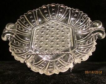 Anchor Hocking Dot and Cane ACH44 Clear Glass Relish / Candy / Bon Bon  1930's