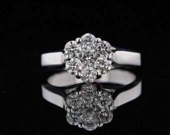 7 Diamonds - 0.96ct F VVS Cluster Flower Diamond Ring 18k White gold