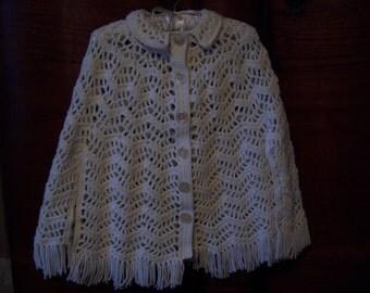 Vintage Crocheted White Shawl. Shawl and Wrap.  Crocheted Shawl.