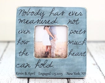 Quote Frame Engagement Wedding Anniversary Gift Personalized Custom Rustic Picture Frame